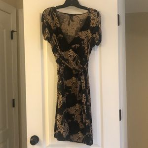 Brown dress with tan flora print